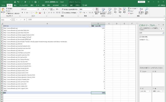 「www.efbweb.org」の被リンク一覧をピボットテーブルで整理