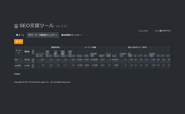 アクセスジャパン社内用のSEOツール「キーワード難易度チェッカー」の結果画面