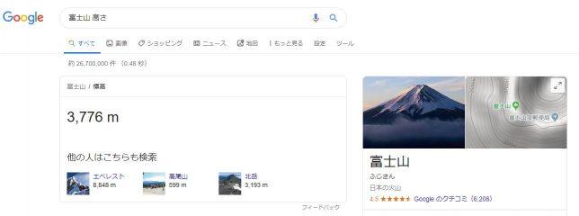 Googleで「富士山 高さ」と検索したところ。3,776m と表示される
